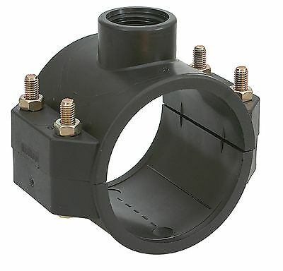 Single Outlet Clamp Saddle for Blue Water, MDPE & Alkathene Pipe Up To 315mm.