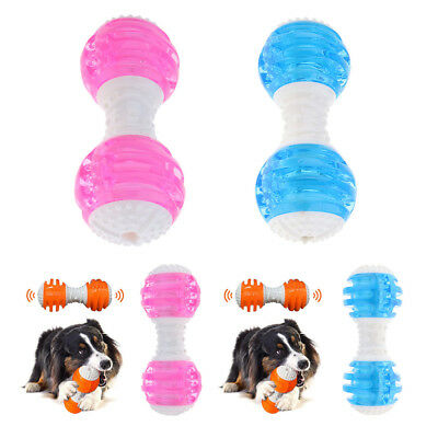 2pcs Pet Dog Cat Puppy Sound Squeaky Toy Plastic Dumbbell Chewing Funny Toy