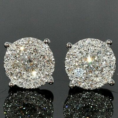 1.50Ct Round Attractive Cut Diamond Cluster Stud Earring 14K White Gold Finish