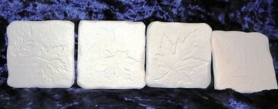 """Ceramic Bisque Drink Coasters x 4 square Fossil Impressions """"Leaves"""""""