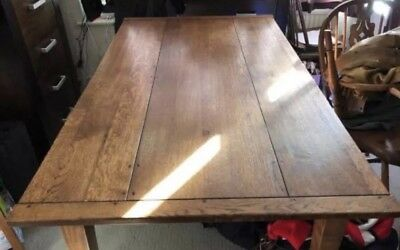 Antique Rectory large Dining table - oak plank. 36''x 60''