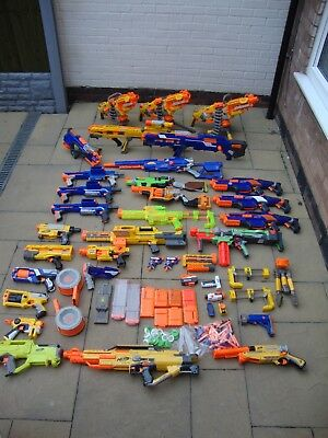 Huge Bundle Of Nerf Guns Havok Fire Longshot Longstrike Raider Etc + Bullets