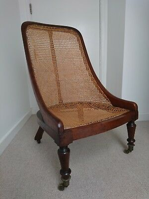 ANTIQUE REGENCY EARLY VICTORIAN MAHOGANY SLIPPER CHAIR For Re-upholstery