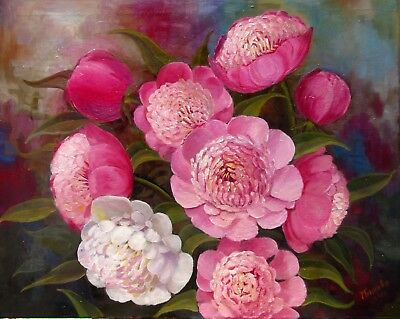 """Peonies 30X24"""" Realistic Art Floral First Spring Flowers Original Oil Painting"""