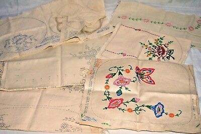 Vintage Antique Linen Stamped Sets for Embroidery Vanity Buffet Colortex Lot