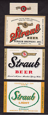 3 Different Straub Beer & Straub Light Labels w/One Neck Label St. Marys PA