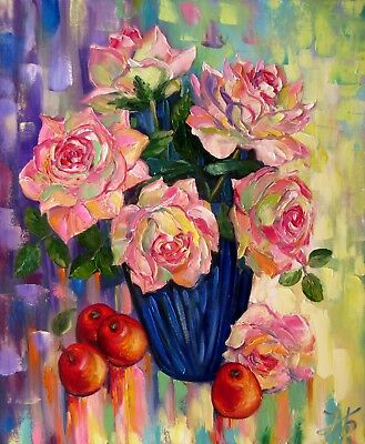 """ROSES AND CRAB APPLES20X24"""" Flowers Fruits Original Oil Painting by N. Bykova"""