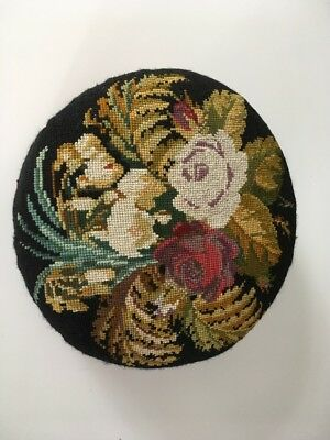 Antique Victorian Needlepoint Footstool Floral Tapestry Top Lovely Needlework