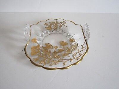 Vintage Clear Glass Dish Curved With Handles--Gold Floral Fancy Design & Trim