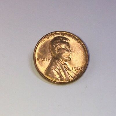 1963 D Lincoln Memorial Small Cent Uncirculated Bright Red Denver Mint