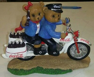 Preowned Coca Cola Hamilton On The Go Figurine Statue Bears Motorcycle