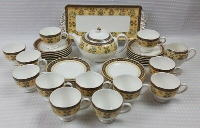 Wedgwood Bone China India Tea Service Floral Yellow Black Excellent Condition
