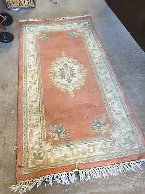 Vintage  Chinese Wool Rug Hand Carved Oriental Decorative 23/10/E