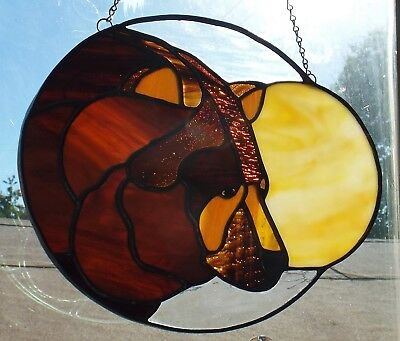 Stained Glass Bear & Moon