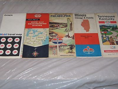 Lot Of 5 Vintage 1970's Gas Station Maps ~Mobil Sohio American Standard Esso