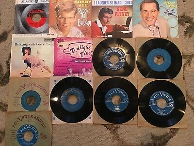150+ vinyl 45 rpm records 50s and 60s featuring Louis Armstrong Bing Crosby more