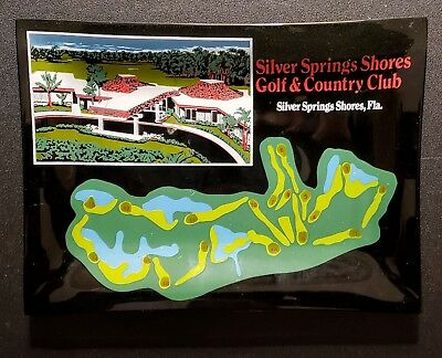 Houze Art Glass Dish~Silver Springs Shores Golf & Country Club~60's~MCM~Vintage