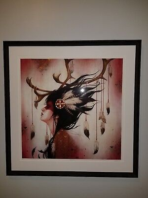 Sylvia Ji HPM Framed Print AP Gold Leaf Signed Pop Art Street Bansky Red Caribou