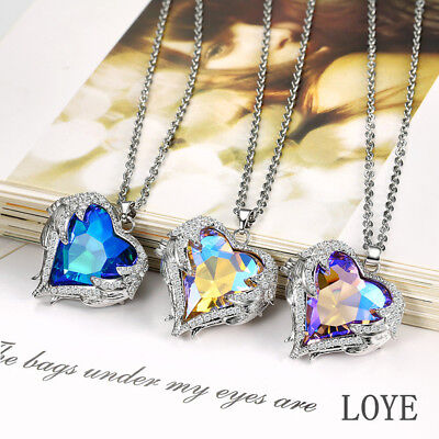 Crystal Heart Pendant S925 Silver  Rhinestone-studded Angel Wings Necklace