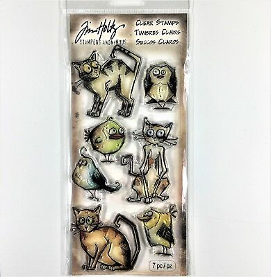 Tim Holtz Stampers Anonymous Crazy Cats & Birds Clear Stamp Set Animal