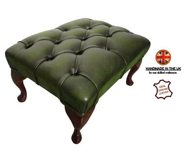 Quality Chesterfield Antique Green Deep Buttoned 100% Genuine Leather Footstool