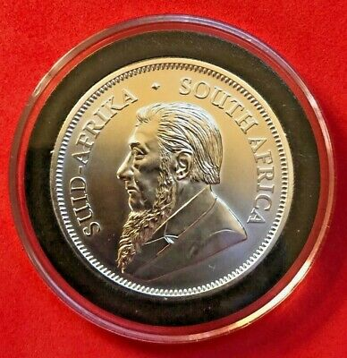 2018 SOUTH AFRICAN KRUGERRAND BU 1oz .999 SILVER IN COIN CAPSULE FREE SHIPPING