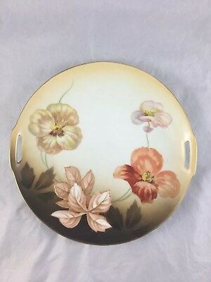 """Antique RS Germany Floral Porcelain Cake Plate 9 3/4"""" X 1"""" With Golden Rim"""