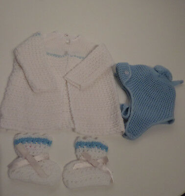 Vintage  White & Blue Baby / Reborn  Matinee coat & Bootees 3 Mths  UNUSED