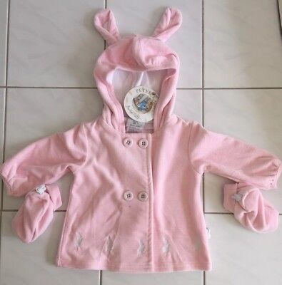Peter Rabbit Ribbed Hoodie Jacket With Booties Pale Pink Size 00