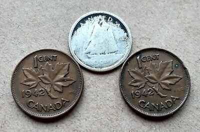 Lot Of 3 1942 Canada Silver Dime 10 Cents & 2 Pennies King George Exact Coins