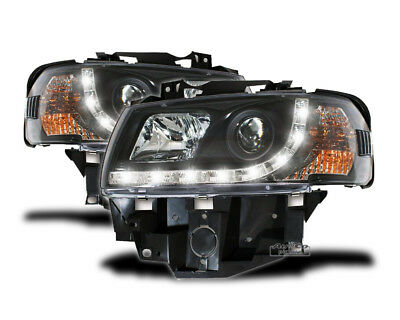 Juego de Faros Optica Marcha Diurna LED para VW T4 1996-2003 BUS Luz do Dia Negr