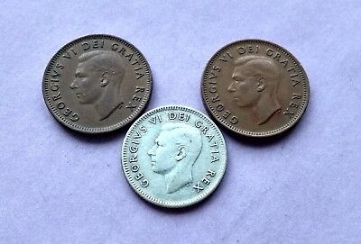 Lot Of 3 1950 Canada Silver Dime 10 Cents & 2-Pennies King George Exact Coins