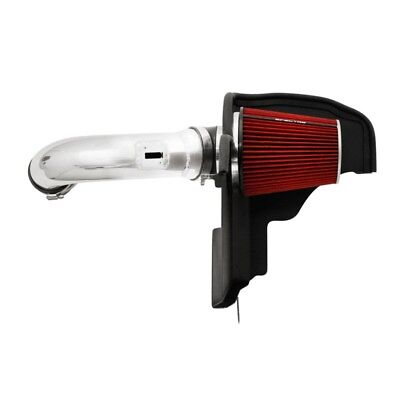 Spectre 11-14 Ford Mustang GT V8-5.0L F/I Air Intake Kit - Polished w/Red Filter