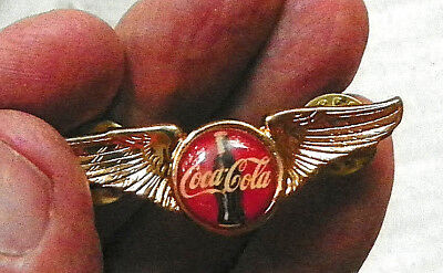 """Early Wings Pin With """"coca-Cola"""" & Bottle On Red Background"""