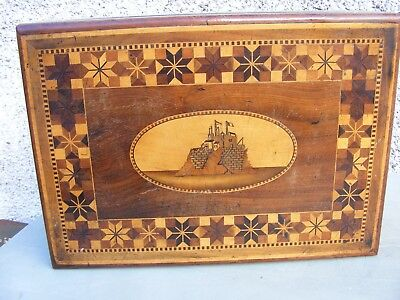 Antique Inlaid Wooden Sewing Jewelery Box With Castle