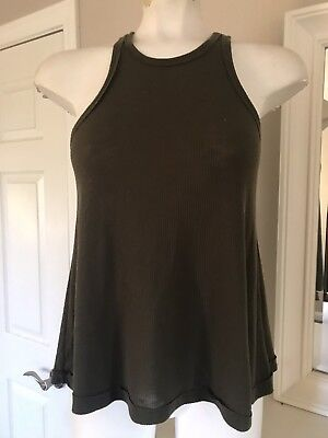c4a9df9b80 Free People Ribbed Tank Top Size XS Army Green Loose Flowy High Neck  Sleeveless
