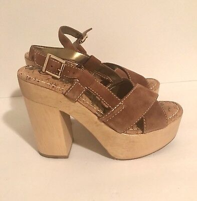 "7bb828e2c Sam Edelman Mae Wood Sandal Shoe Women s Block 5"" Heel Platform Brown Size 7"