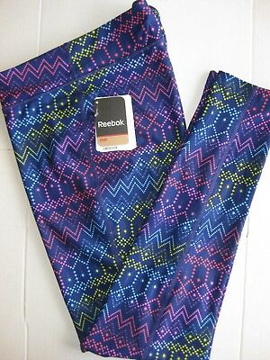 Reebok Sport All Over Print Tight Leggings Girl's Pants Multicolor NEW WITH TAGS