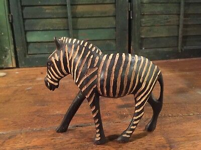 Hand Carved Wood Zebra Made in Kenya Statue Figurine