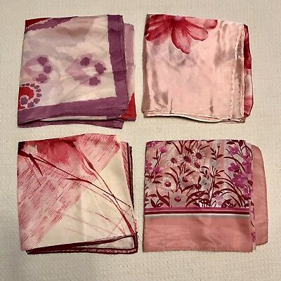 4 Scarves Square Pink Red Paisley Floral Purple Rayon Nylon Poly Vtg Scarf Lot