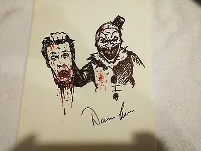 Art of Clown Terrifier Original Art Drawing 11x14 Signed Damien Leone 1of10 RARE