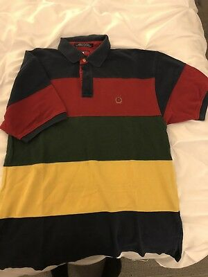 007cbae3f51 90s Vintage Tommy Hilfiger Multi Color Block Crest Striped S/S Polo Shirt  Sz M