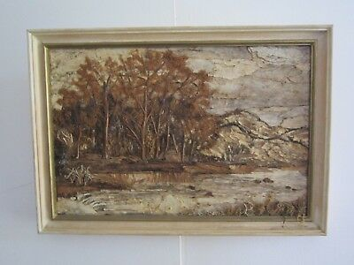 """Striking Australiana """"rocky River"""" Paperbark Picture By G H Moss June 1973"""