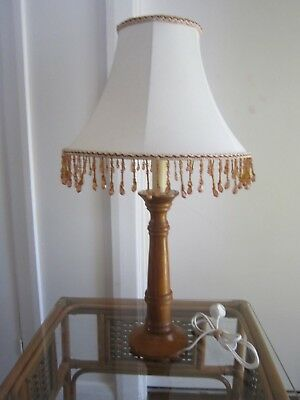 Vintage Very Retro Timber Base Table Lamp With Beaded Shade