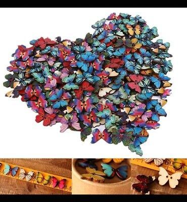 20 wooden colourful butterflies scrapbooking craft and sewing parties
