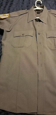 NYC POLICE ACADEMY GRAY UNIFORM SHORTSLEEVE SHIRT ((LARGE)) Hat and Pin!!