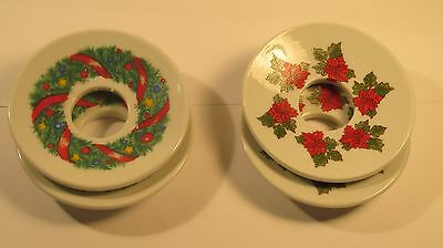 Set of 4 Beautiful Decorated Glass Porcelain Candle (Non Drip) Candle Plates