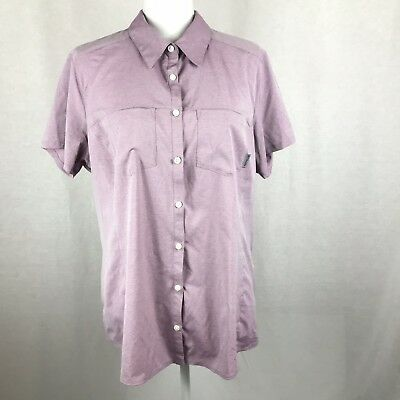 Columbia Womens Shirt Size XL Omni-Shade Button Sport Violet Chambray UPF 25 NWT