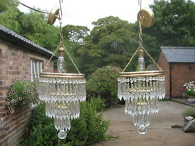 Pair Of Vintage 4 Drop Crystal & Brass Waterfall Chandeliers Fully Wired /4092