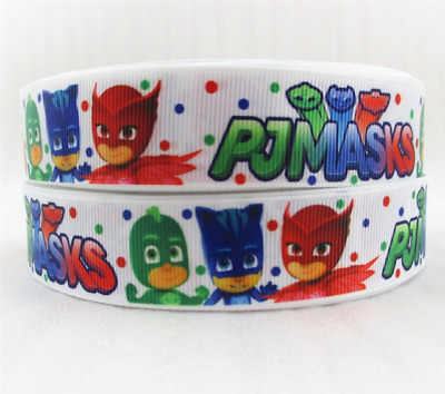 Grosgrain Ribbon PJ Masks White (1m, 2m or 5m)